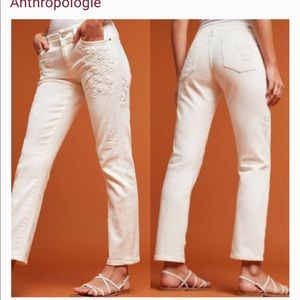 Pilcro Hyphen Mid-Rise Embroidered white Jeans